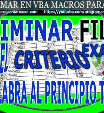 Eliminar Filas en Excel con Criterio
