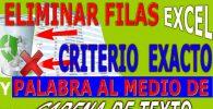Eliminar Filas Excel con Criteriio