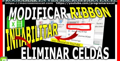 Modificar Ribbon Inhabilitar Eliminar Celdas