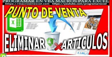 Punto de Venta en Excel Eliminar Articulos facturados por error