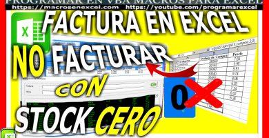 Factura en Excel - Facturar con Stock Cero