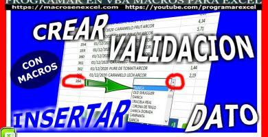 crear validacion al insertar datos con macros de excel