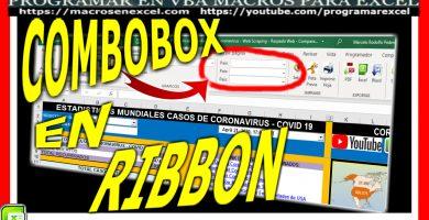 combobox en ribbon de excel, como modificar cinta de opciones