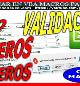 Validacion en Excel, permitir solo numeros enteros con macros