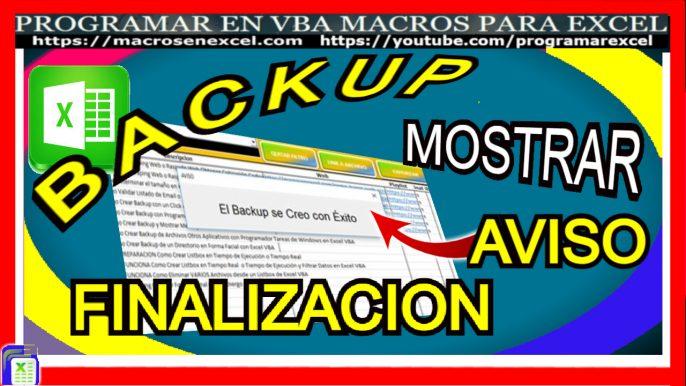Backup con macro excel, mensaje cierre automatico